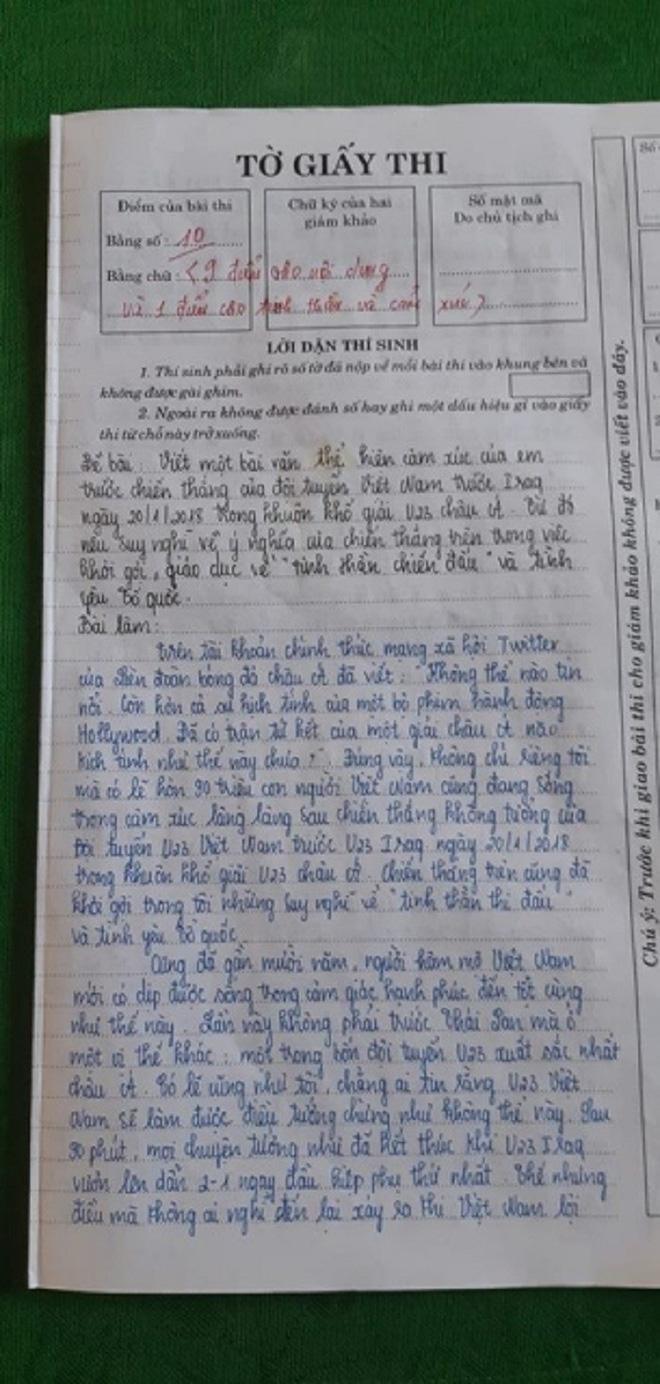 Nữ sinh được 10 môn Ngữ văn vì viết quá xúc động về chiến thắng của U23 Việt Nam - Ảnh 1.