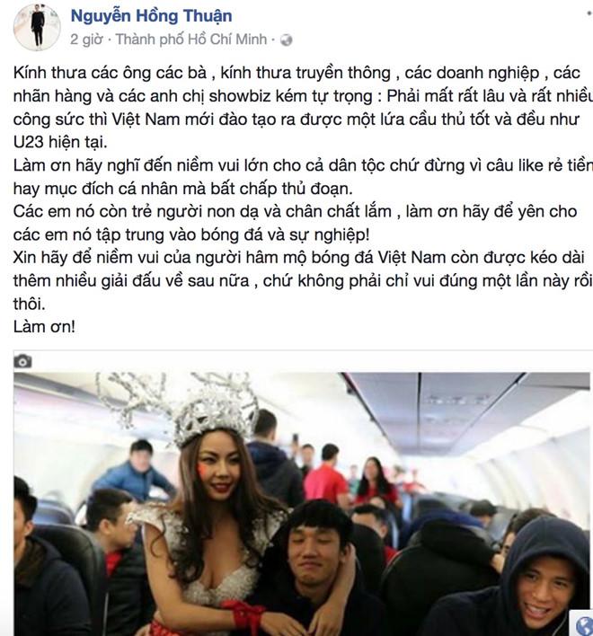 Hàng loạt sao Việt bức xúc với bức hình người mẫu mặc hở hang đón U23 Việt Nam 2