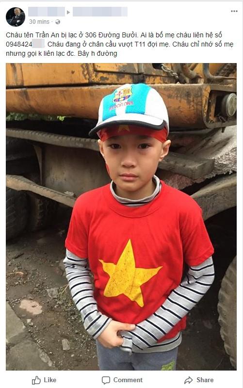Bé trai bị lạc khi cùng bố mẹ đi đón đội tuyển U23 Việt Nam 1