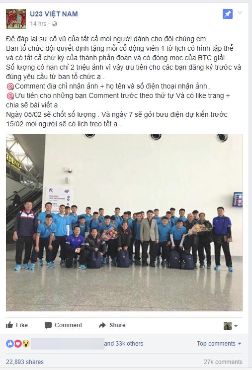 Cảnh giác: Thông tin BTC tặng 2 triệu tờ ảnh lịch có hình tập thể U23 Việt Nam kèm chữ ký của các cầu thủ là giả mạo 1