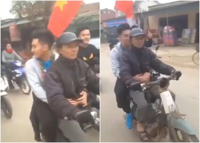 Thủ môn U23 Việt Nam từ chối xe sang,  ngồi sau xe máy cà tàng ôm bố cùng về nhà 1
