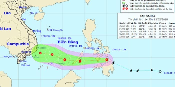 Hình ảnh Thông tin mới nhất về tin bão Sanba ngoài biển Đông số 1