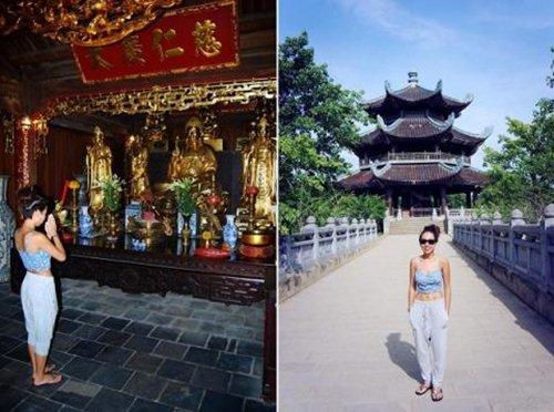 Sao Việt son phấn lòe loẹt, ăn mặc hở hang đi lễ chùa bị dân mạng chỉ trích 5