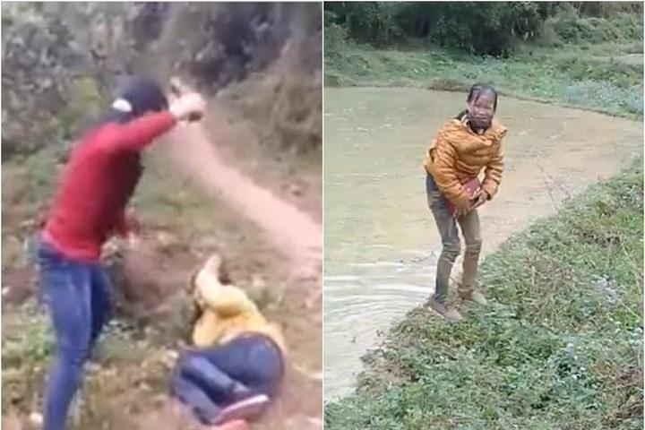 Đánh ghen: Vợ cầm dép đánh vào mặt bồ nhí tới tấp rồi ném xuống ao bùn 1