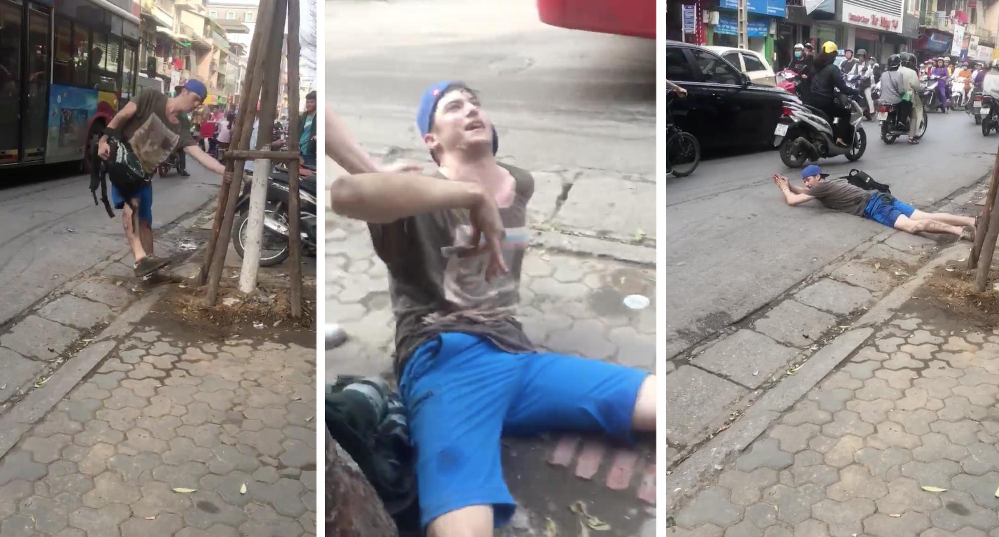 Hà Nội: Thanh niên Tây lăn ra đường 'tập bơi' sau khi hút thử thuốc lào 1