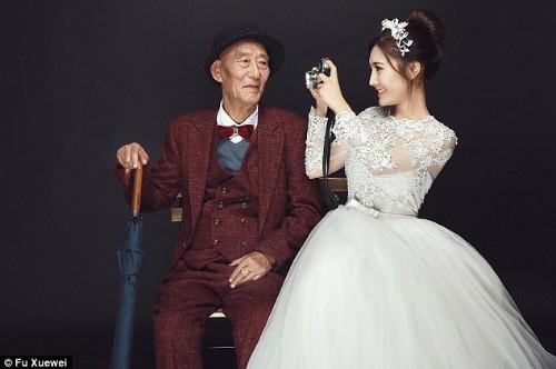 Bộ ảnh cưới của cô gái trẻ và cụ ông 87 tuổi khiến dân mạng xôn xao - Ảnh 1.