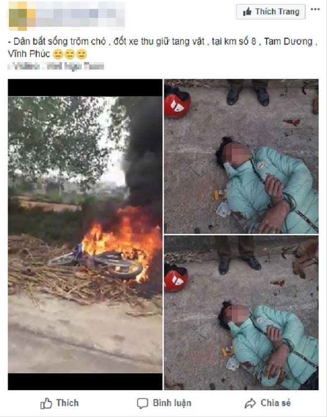 Thanh niên trộm chó bị người dân bắt được đánh nhừ tử, đốt xe máy 1