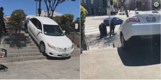 Tin lời bản đồ Uber, xe ô tô lao thẳng vào cầu thang người đi bộ và mắc kẹt 30 phút liền 1