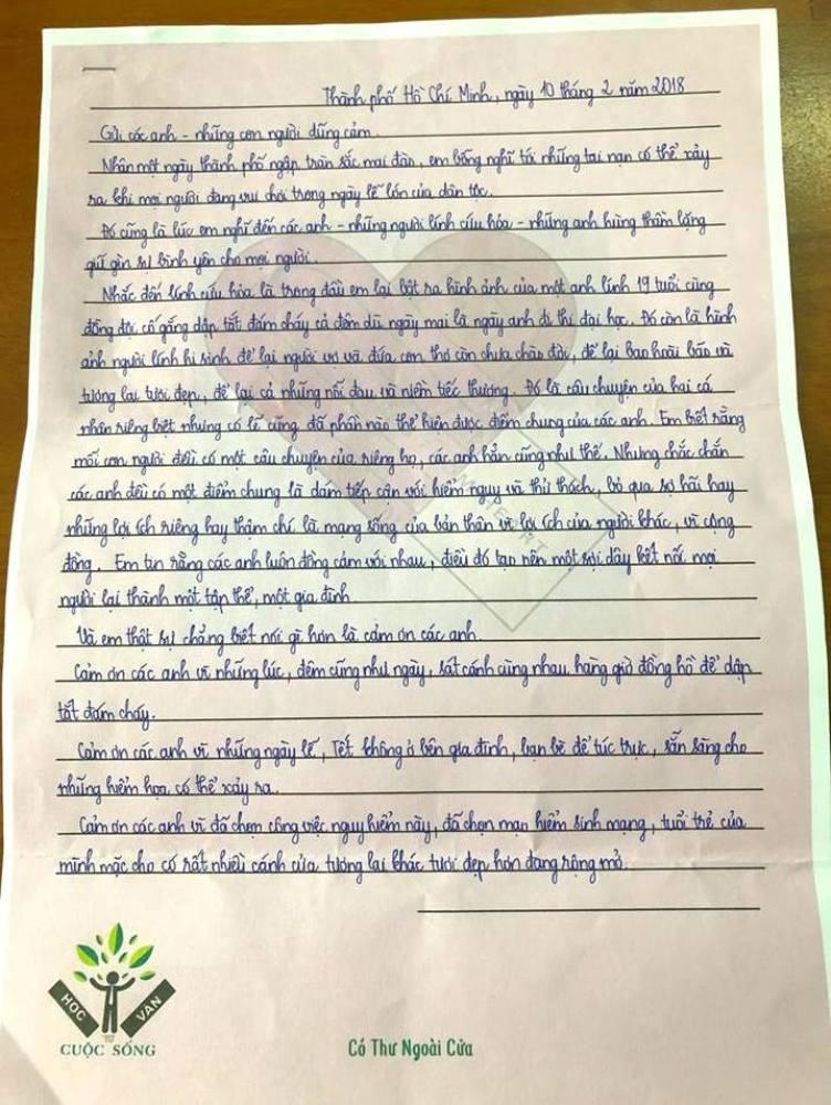 Hình ảnh Tâm thư xúc động của học sinh gửi cảnh sát PCCC gây sốt MXH số 1