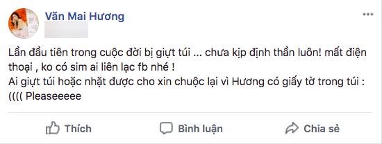 Bị giật túi xách, Văn Mai Hương hốt hoảng cầu cứu dân mạng! - Ảnh 1.
