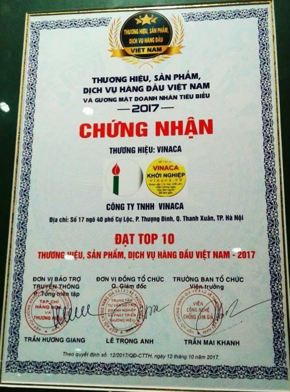 Chứng nhận Vinaca đạt Top 10 Thương hiệu hàng đầu Việt Nam không còn giá trị 1