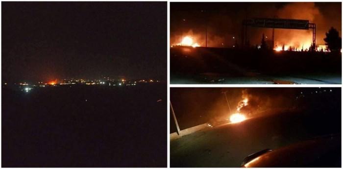 Ngoại ô thủ đô Syria bị không kích bằng tên lửa, cháy ngùn ngụt 1