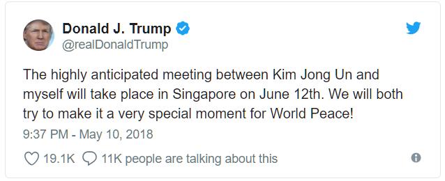 TT Trump ấn định gặp nhà lãnh đạo Triều Tiên Kim Jong Un tại Singapore ngày 12/6 tới 1