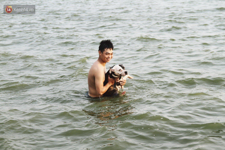 Nắng nóng oi bức, người dân Thủ đô bế chó cưng ra Hồ Tây cùng tắm để giải nhiệt dù có biển cấm 20