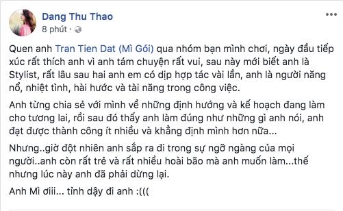 Đông Nhi, HHen Niê cùng loạt sao Việt sốc và bàng hoàng trước sự ra đi của stylist Mì Gói 3