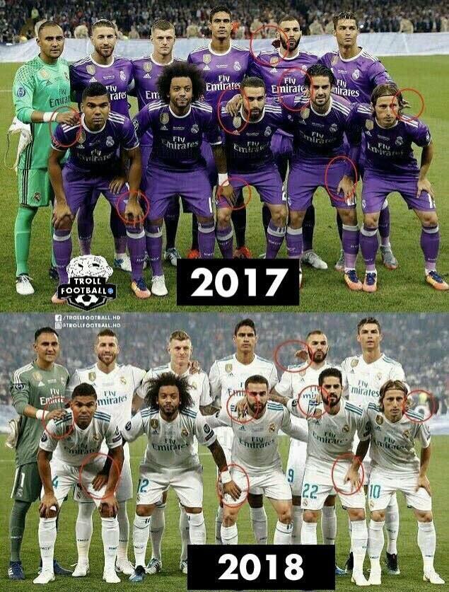 Sự trùng hợp kỳ lạ giữa 2 bức ảnh chụp Real Madrid và