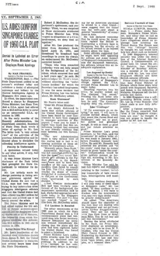 CIA từng chi 25 triệu USD mua chuộc Thủ tướng Lý Quang Diệu 1