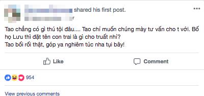 Ông bố trẻ lên mạng nhờ đặt tên cho con trai 'họ Lưu' sao cho thật chất và cái kết hài khó đỡ 1