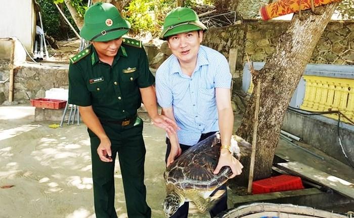 Hà Tĩnh: Thả rùa quý hiếm nặng gần 40kg có nguy cơ tuyệt chủng về biển 1