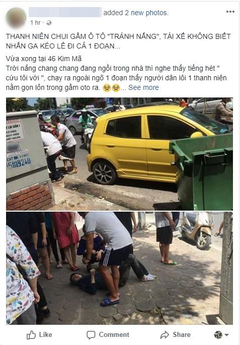 Thực hư vụ thanh niên ngủ dưới gầm ô tô để tránh nắng, tài xế không biết kéo lê 1 đoạn trên đường 1