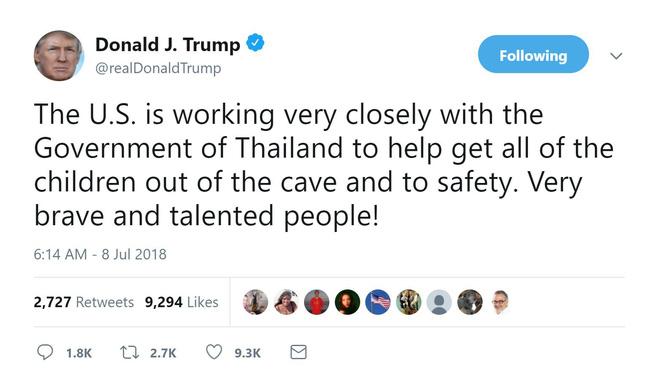 Thái Lan giải cứu thành công 6 cầu thủ nhí, TT Trump liền tuyên bố 'Mỹ cũng góp sức' 1