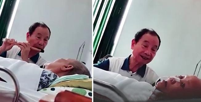 Cụ ông 79 tuổi thổi sáo, hát bên giường bệnh của vợ khiến nhiều người không cầm được nước mắt 1