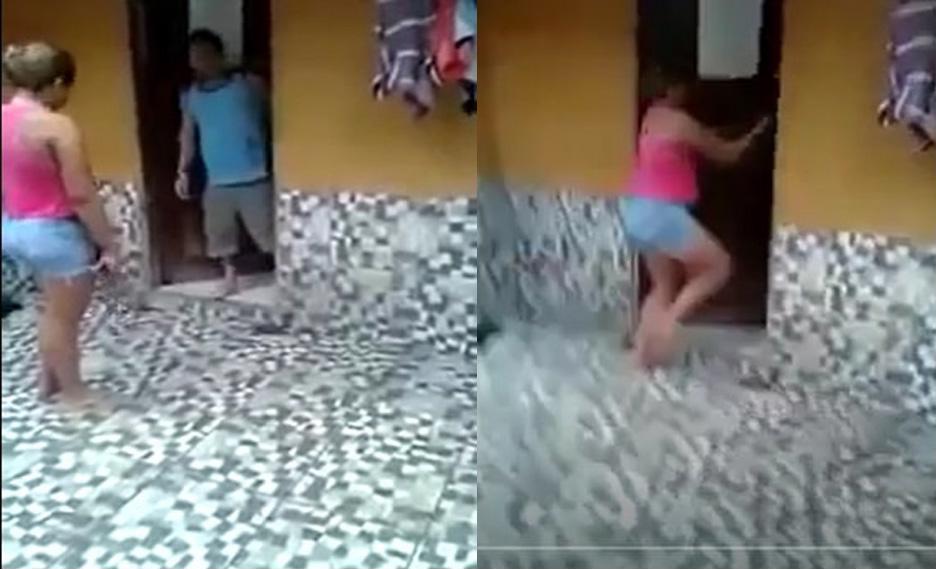 Xôn xao clip vợ cầm ô đánh chồng tới tấp vì ngoại tình với bà chủ 1