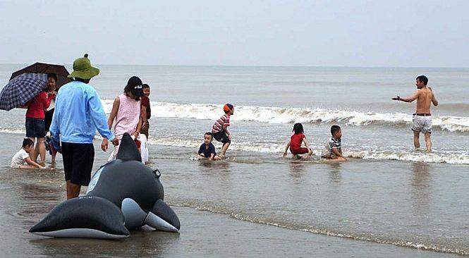 Bão số 3 giật cấp 11, du khách vẫn vô tư tắm biển Sầm Sơn 1