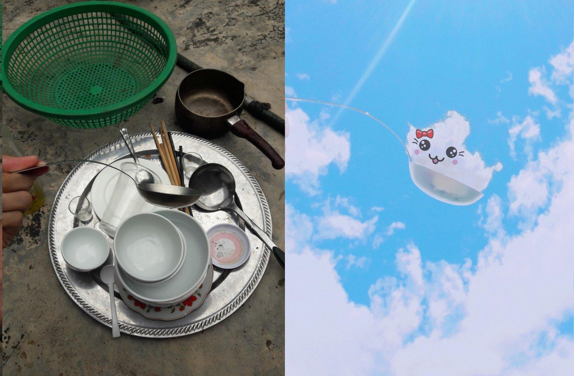 Bị mẹ bắt đi rửa bát, thanh niên cao hứng sáng tạo luôn một bộ ảnh siêu đáng yêu với mây trời 2