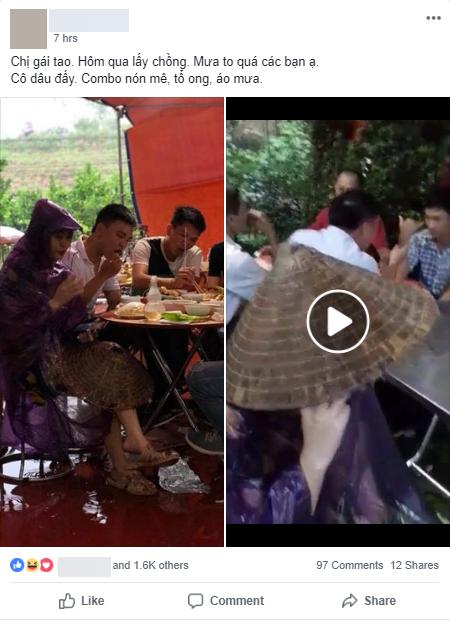 Cô dâu diện nguyên combo nón lá, dép tổ ong, áo mưa kín người trong ngày cưới khiến dân mạng bật cười 1