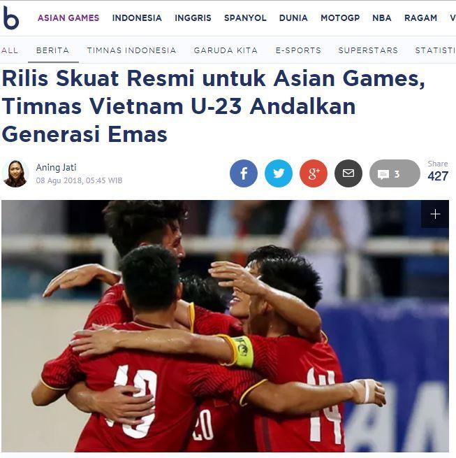 Báo Indonesia: 'Việt Nam mang thế hệ vàng dự ASIAD' 1