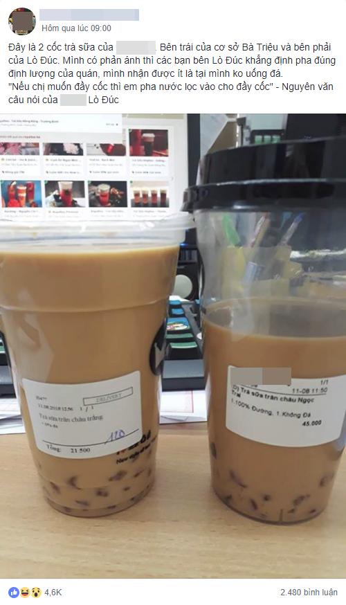 Mua trà sữa không đá cùng 1 thương hiệu, cô gái nhận được 1 cốc đầy ắp, 1 cốc vơi như uống dở, dân mạng cãi nhau chí chóe 1