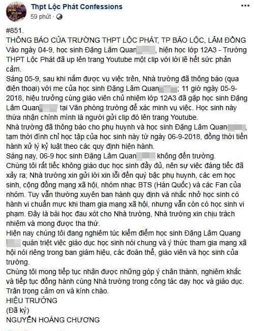 Hình ảnh Nam sinh Lâm Đồng chửi tục bằng nhạc rap trên mạng xã hội bị kiểm điểm số 2