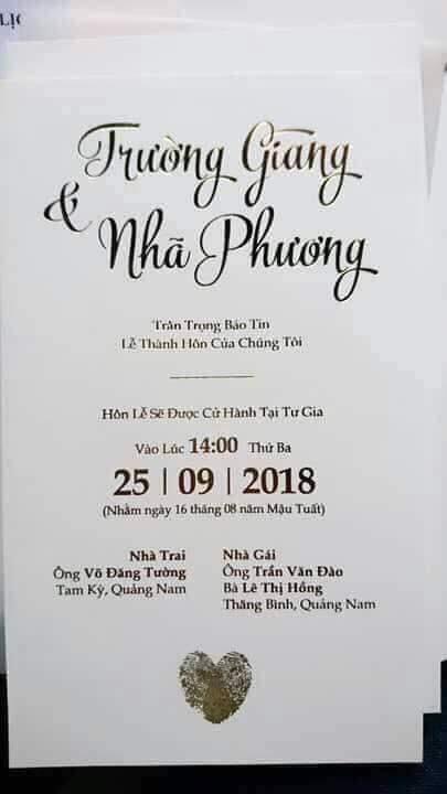 Lộ thiệp cưới của Nhã Phương - Trường Giang 1