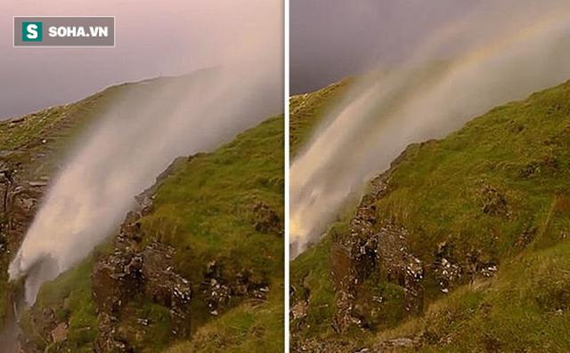 Kỳ thú, hiếm thấy: Thác nước bất ngờ chảy ngược hướng lên trời 1
