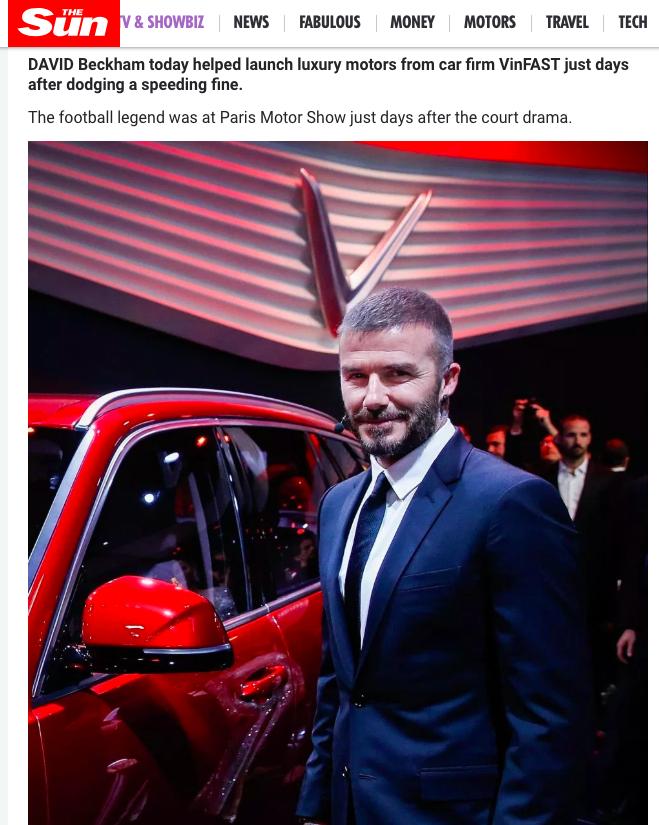 Hàng loạt báo quốc tế đăng tin rầm rộ về màn xuất hiện của David Beckham tại sự kiện ra mắt VINFAST 4