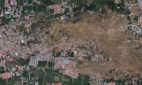 Hình ảnh Sau thảm họa kép, 2 ngôi làng ở Indonesia bị xóa sổ nhìn từ vệ tinh số 2