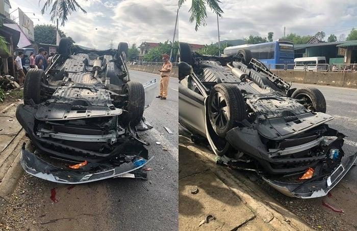 Mất lái, Phó GĐ Sở TN&MT đâm xe lật ngửa khiến vợ tử vong 1