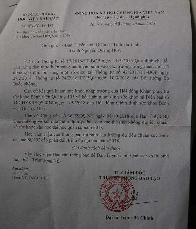 Vụ nam sinh bị Học viện Hậu cần trả về do 'thận lạc chỗ': Tỉnh đội Hà Tĩnh lên tiếng 2