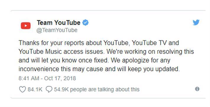 Hình ảnh YouTube sau sự cố sập trên toàn cầu đã hoạt động bình thường số 1