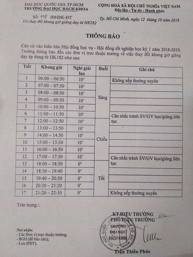 Hình ảnh Đại học Bách khoa TP. HCM giải thích việc xếp lịch học từ 6 giờ sáng số 3