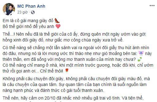 MC Phan Anh khiến chị em phát hờn khi khoe quà 20/10 sớm tặng bà xã 1