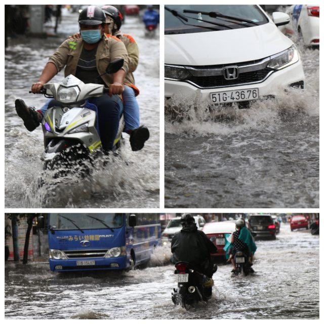 Khách Tây, trẻ em rùng mình lội nước thối ở khu nhà giàu Sài Gòn khi tan tầm 11