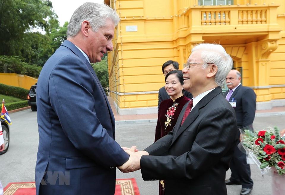 Hình ảnh Cận cảnh Tổng bí thư, Chủ tịch nước Nguyễn Phú Trọng đón Chủ tịch Cuba số 1