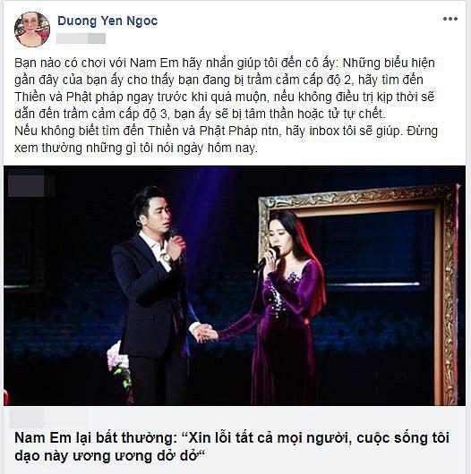 Bị Dương Yến Ngọc nhận định tâm thần, Nam Em suy sụp buồn bã 1