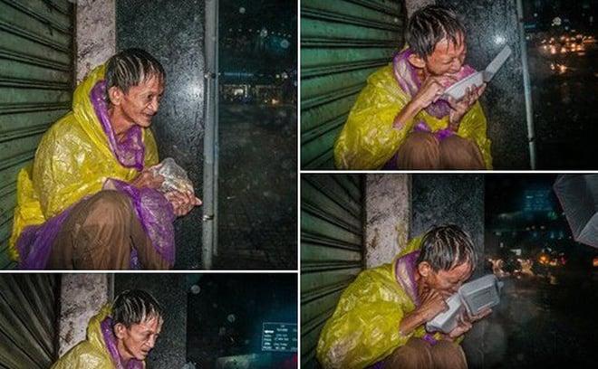 Giữa đêm, MXH xúc động mạnh với hình ảnh ông chú vô gia cư co ro húp cháo giữa mưa bão Sài Gòn 1
