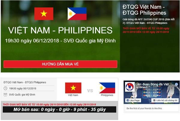 Sáng nay, VFF tiếp tục bán vé online trận Việt Nam – Philippines 1