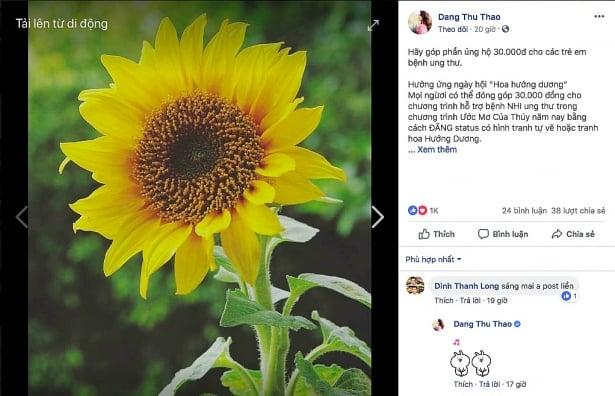 Thực hư trào lưu đăng ảnh vẽ hoa hướng dương lên Facebook giúp bệnh nhi được nhận 30.000đ 3