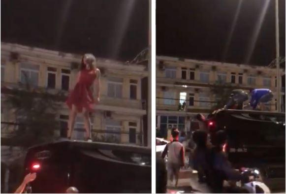 Clip sốc: Cô gái mặc váy đỏ trèo lên nóc ô tô