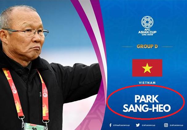 HLV Park Hang-seo bị 'đổi tên' vì sai sót hài hước của AFC 2